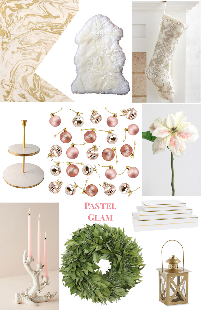 Christmas Decor Ideas for 2018: collage of pastel glam decorations