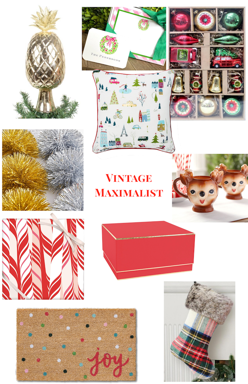 Christmas Decor Ideas for 2018: collage of vintage maximalist decorations