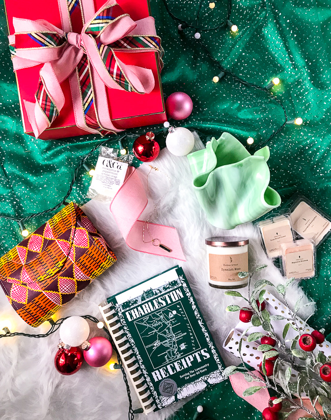 Handcrafted Christmas gifts for the Southern Lady: patterned clutch, cook book, candle, jewelry, glass vase