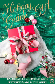 Red Christmas present tied with plaid bow against green backdrop - Handcrafted Christmas Gifts