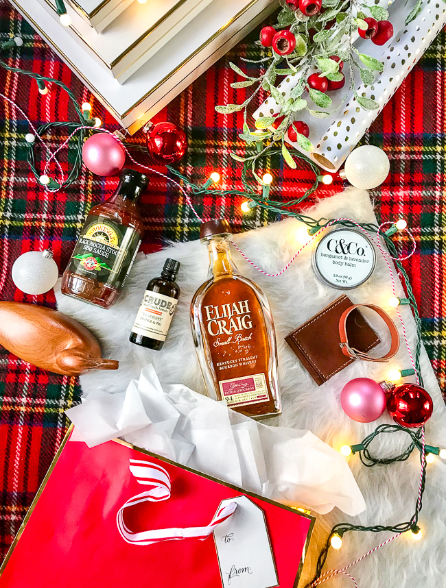 Collage of handcrafted Christmas gifts for the Southern gent: KY Bourbon, bitters, leather goods, hand salve, duck decoy, BBQ sauce