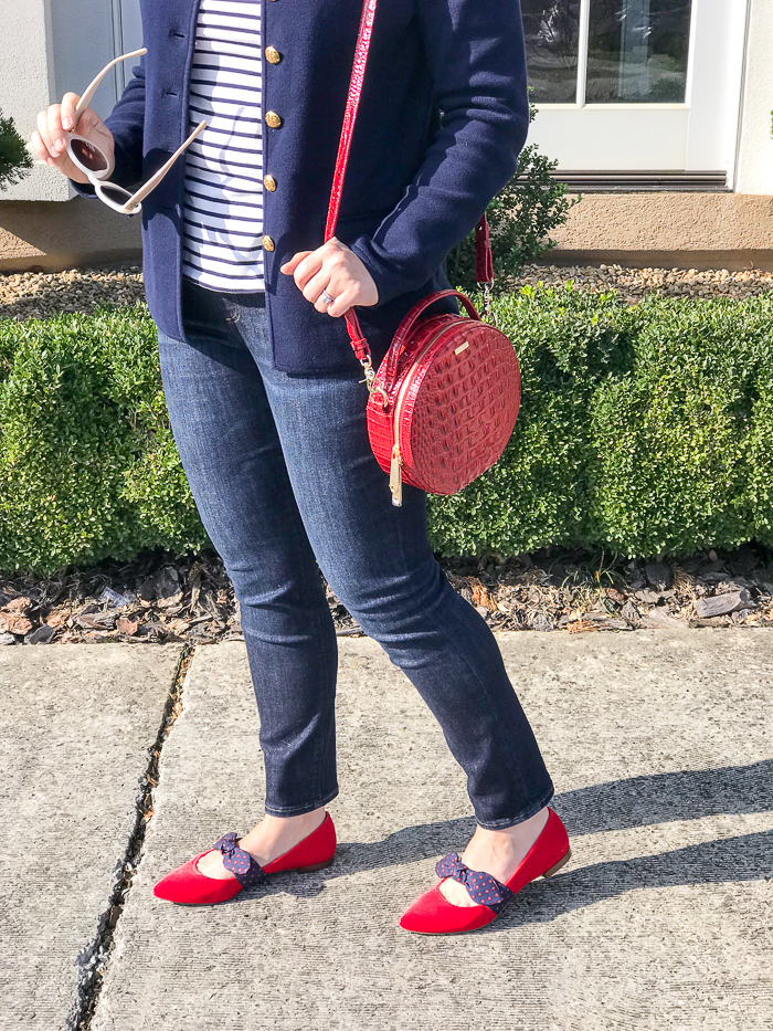 Red circle crossbody bag with red pointed toe flats