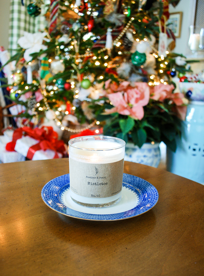 The best smelling holiday candle from Feather and Pearl for that extra festive feel.