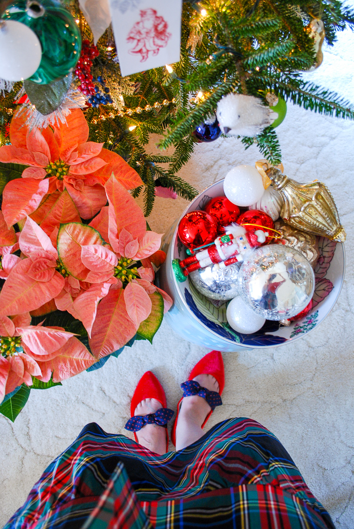 Trimming the tree with vintage ornaments in a Chinoiserie bowl