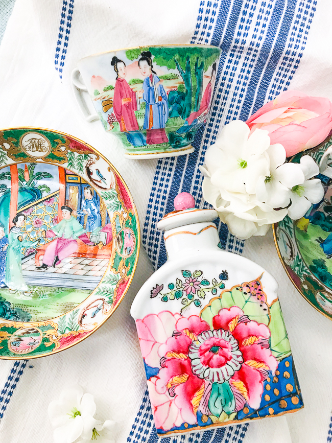 Famille rose porcelain is a lovely accent to get the Chinoiserie chic look