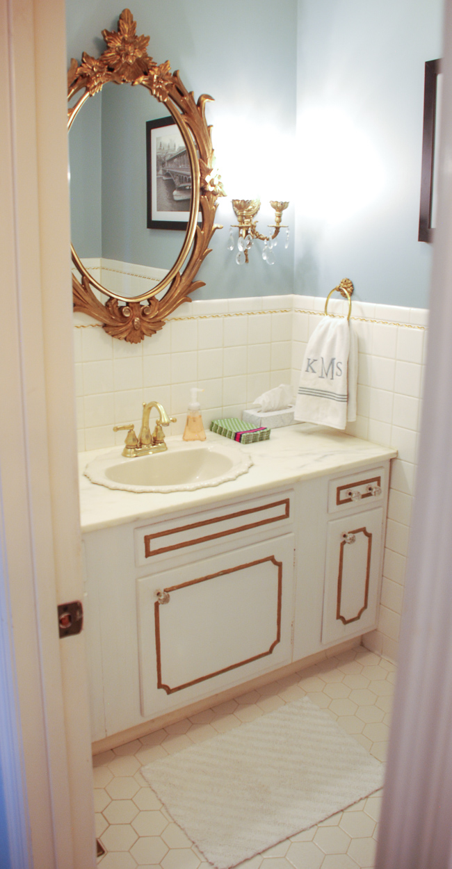 Powder room in interesting aqua - Implement a home color scheme