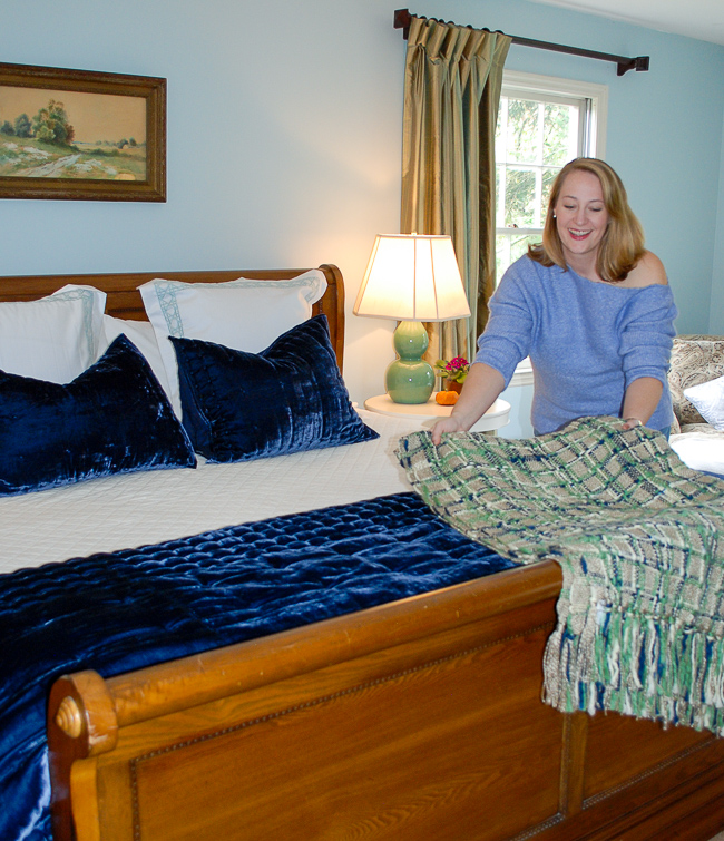 Master bedroom in tradewind blue - Implement a home color scheme