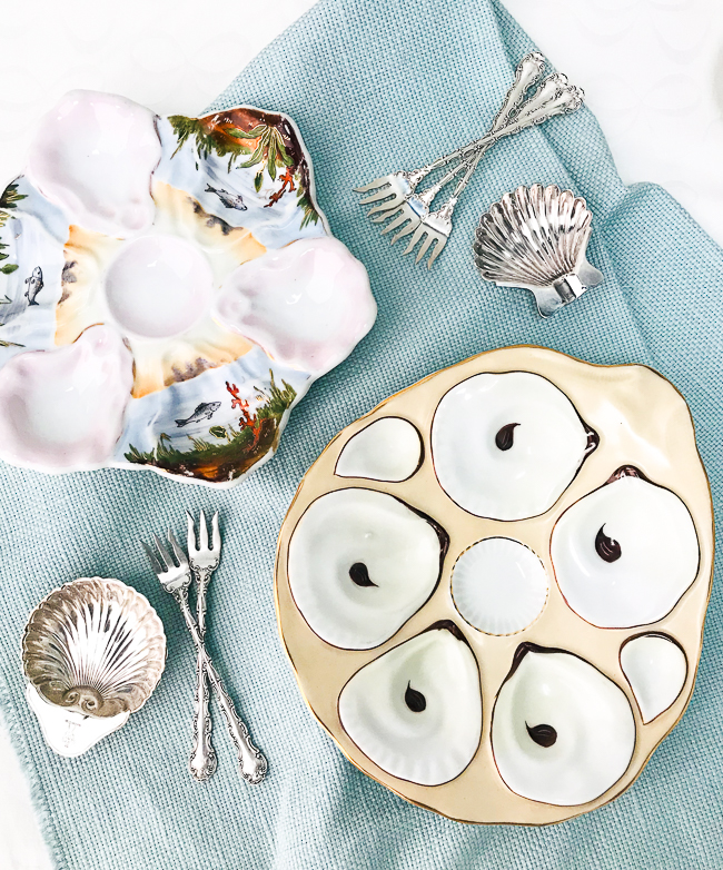 The oyster plate - use antique oyster plates to entertain in style