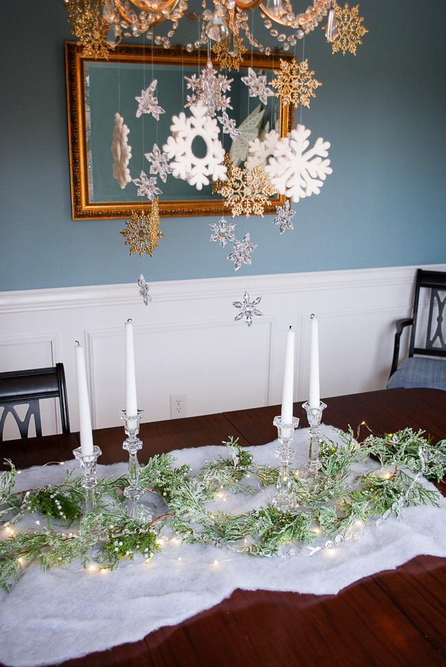Winter tablescape tutorial - placing candles