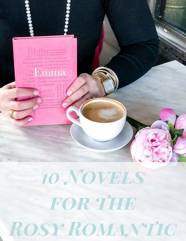 French cafe table with copy of Emma by Jane Austen, latte, and pink peonies - 10 novels for the rosy romantic