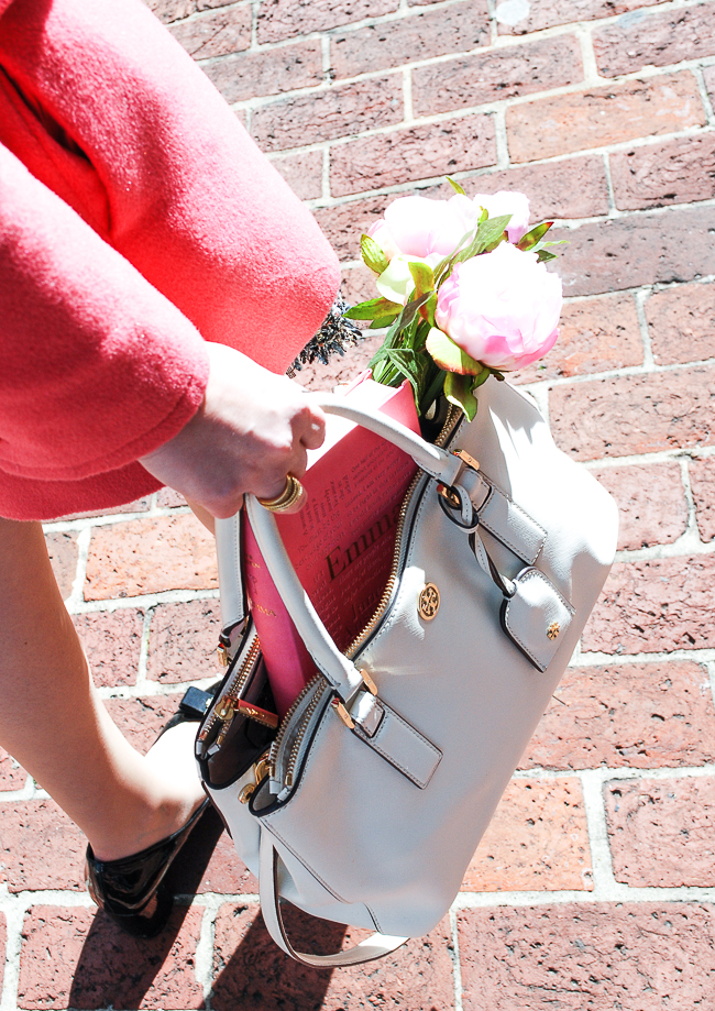 Tory Burch white tote with pink peonies and copy of Emma by Jane Austen