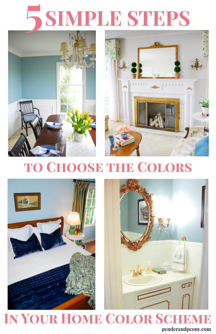 Whole home color scheme in blues and grays - how to choose the colors in your home color scheme