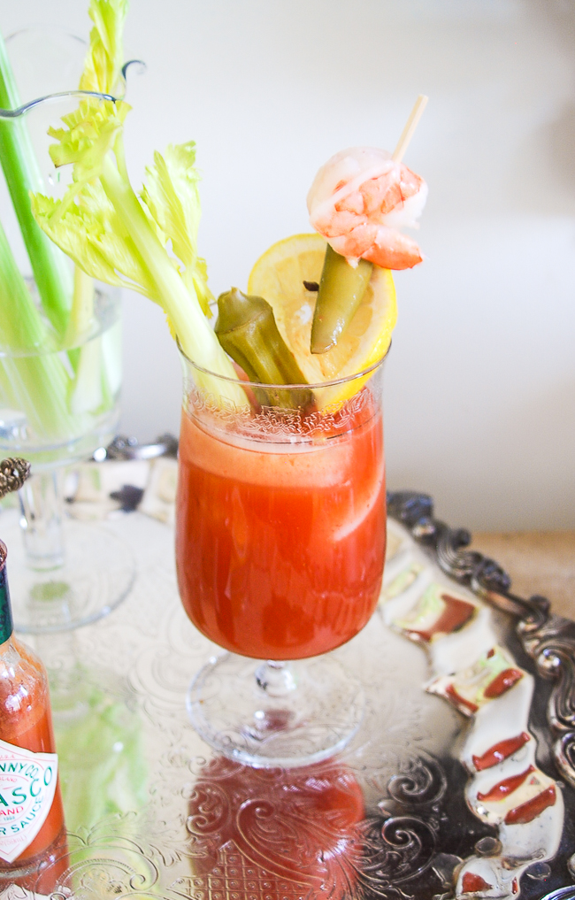 Bloody Mary with pickled veggies - learn to build your own Bloody Mary Bar