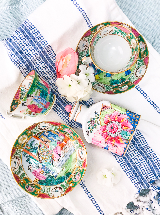 Get the Chinoiserie look with famille rose porcelain like these teacups and tobacco leaf tea caddy