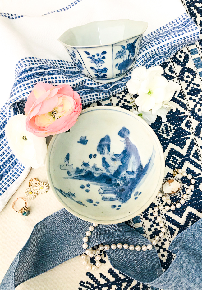 Get the Chinoiserie chic look with blue and white porcelain like this bowl for a jewelry catchall