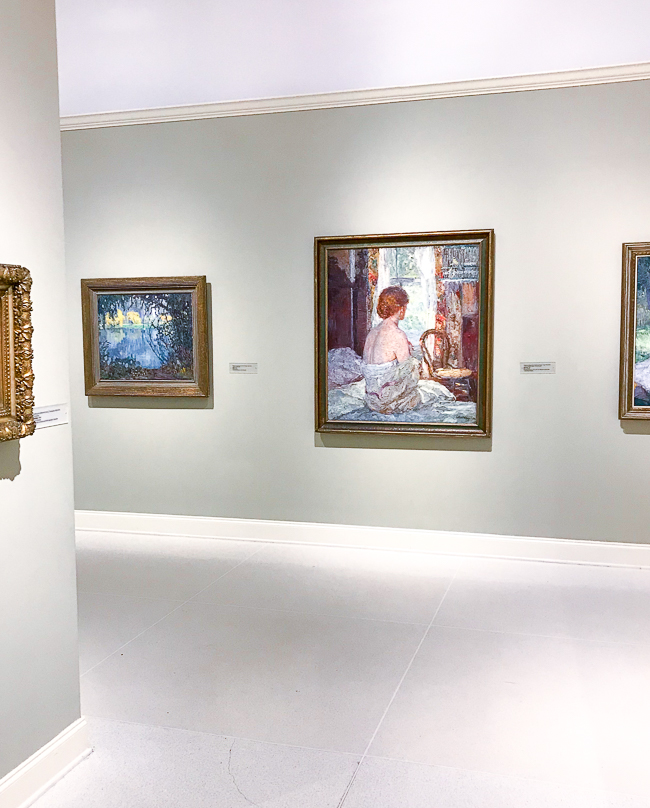 Art museum gallery with painting of woman in center wall - Morning by Catherine Wiley