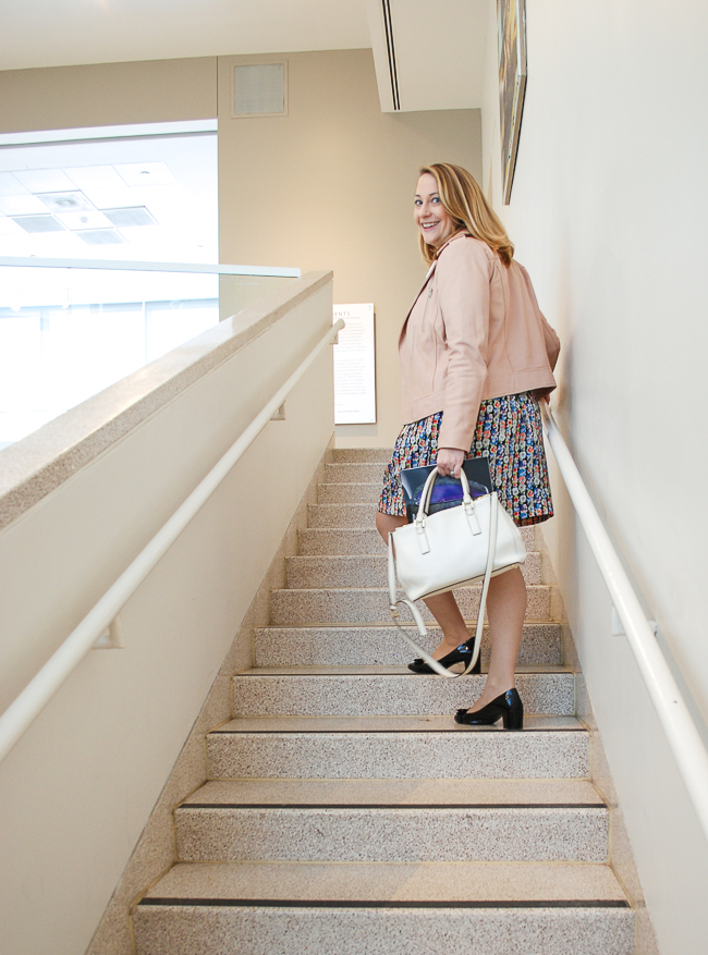 blond woman going upstairs at Knoxville Museum of Art