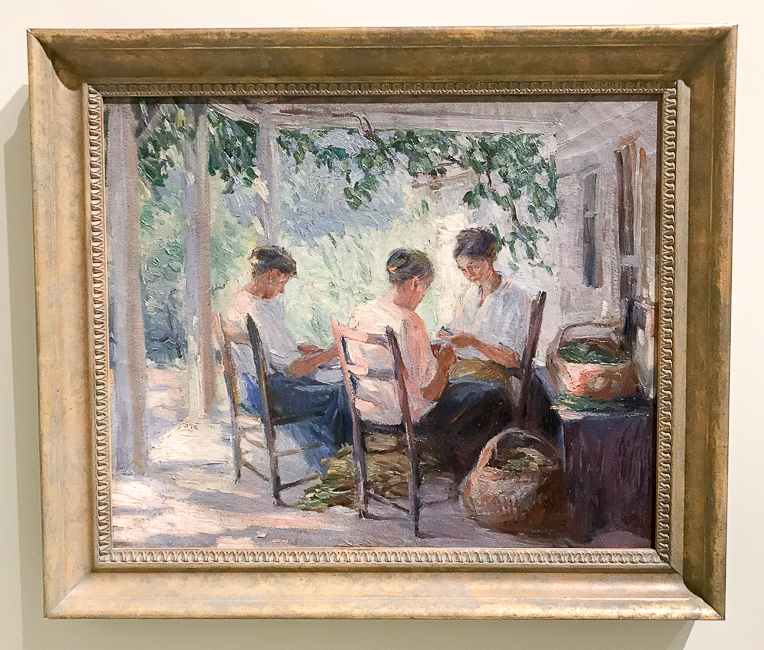 The Pea Shellers by Catherine Wiley - painting of three women sitting on a porch shelling peas at the Knoxville Museum of Art