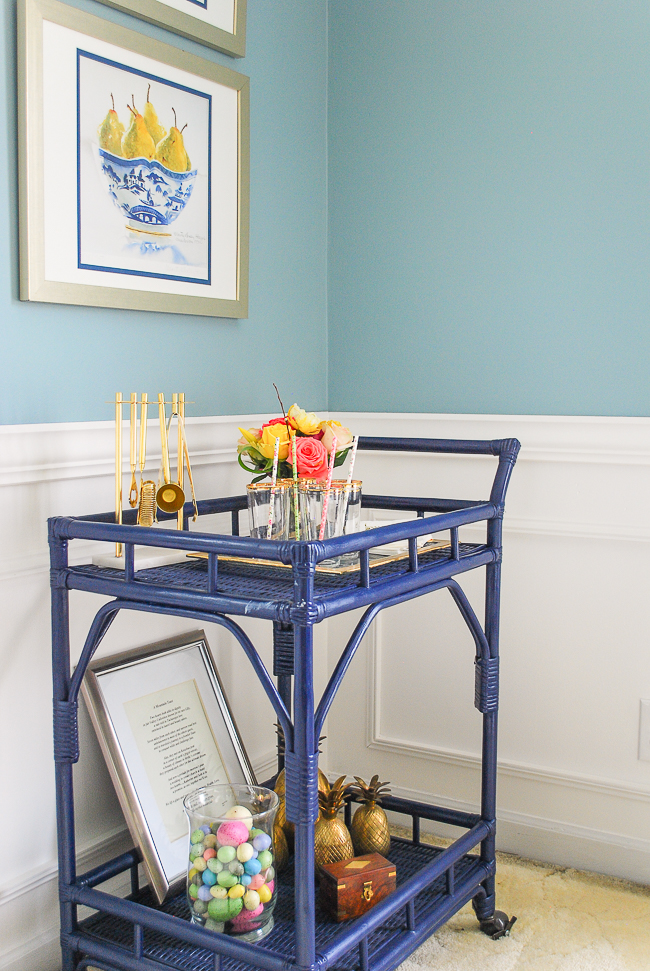 Navy blue bar cart decorated for Easter brunch