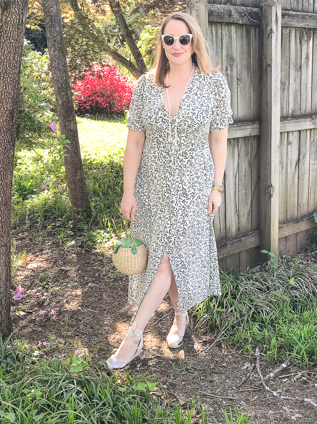 Katherine from Pender & Peony in a green and white day dress - maxi length with vintage vibes