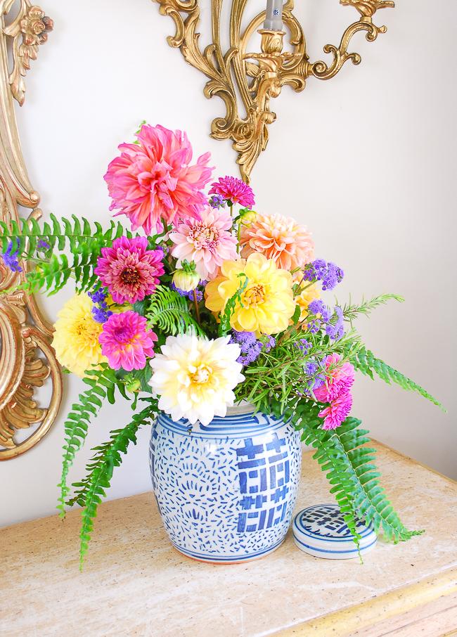 side view of dahlia arrangement