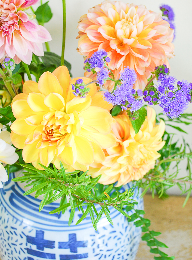 Detail of Dahlias in ginger jar floral arrangement