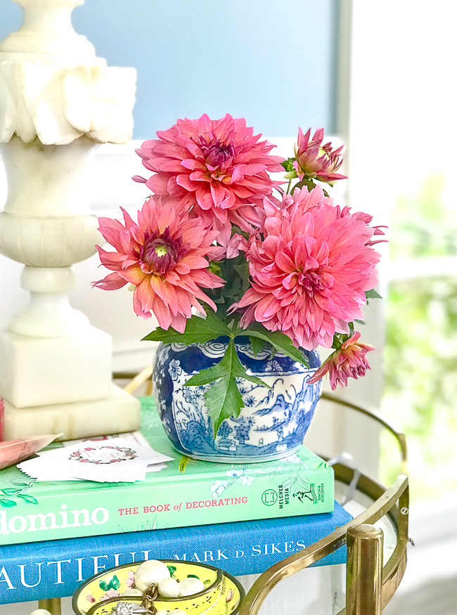 Pink dahlias in mini blue and white ginger jar