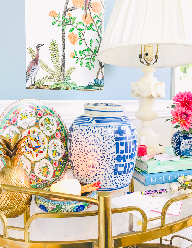 Chinoiserie look for less decor you can find shopping thrift stores etc. including ginger jars, cloisonné, enamel ware, etc.