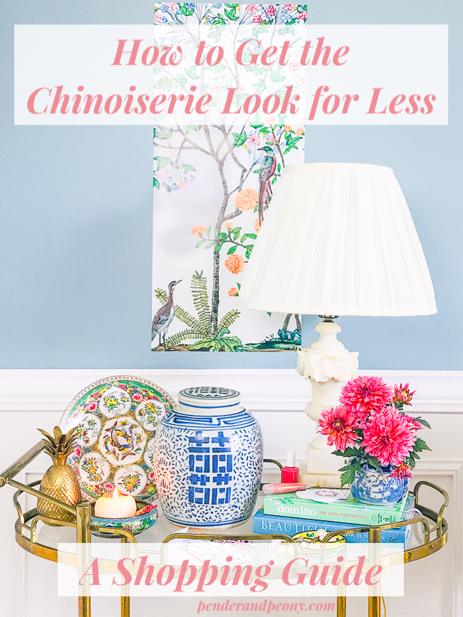 Gold bar cart with Chinoiserie decor including a ginger jar with text How to Get the Chinoiserie Look for Less - A shopping guide