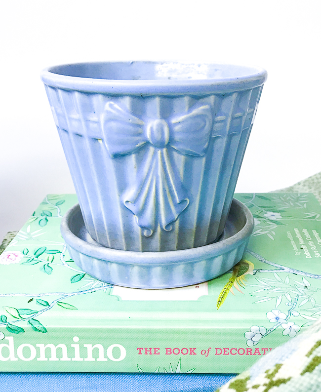 blue planter with bow
