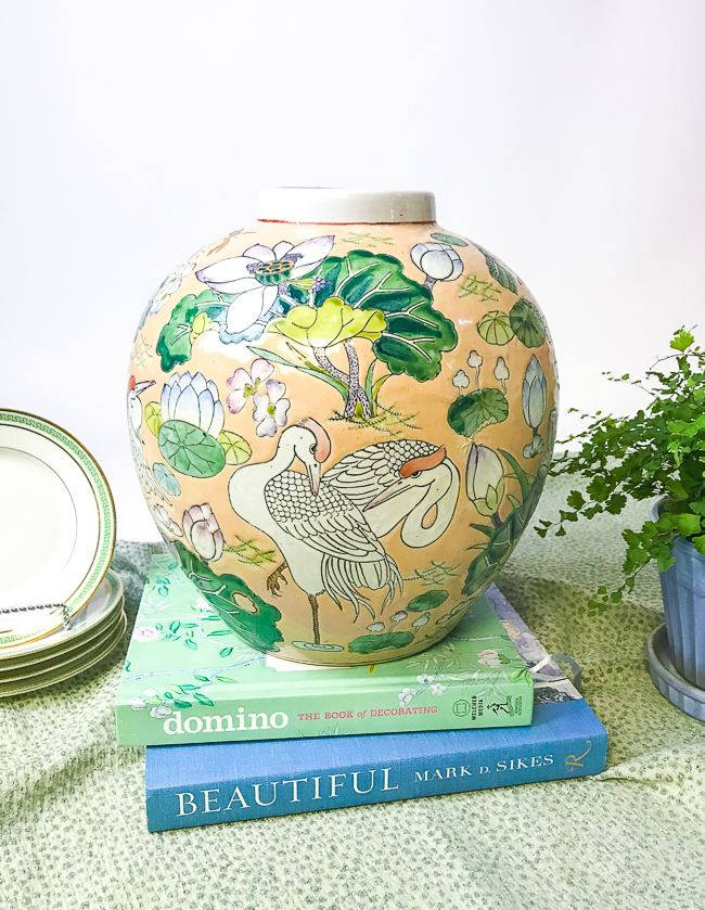enamel chinoiserie ginger jar in peach and green with birds