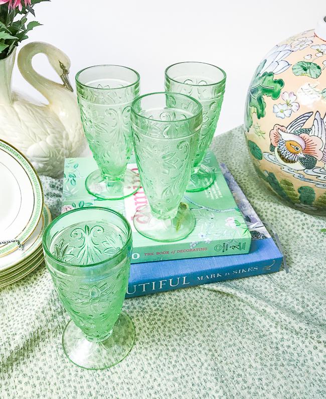 Green tiara chantilly glasses