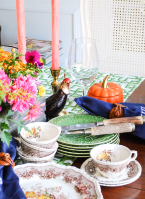 Pheasants and mini pumpkin dishes add that whimsical touch to this Southern autumn table