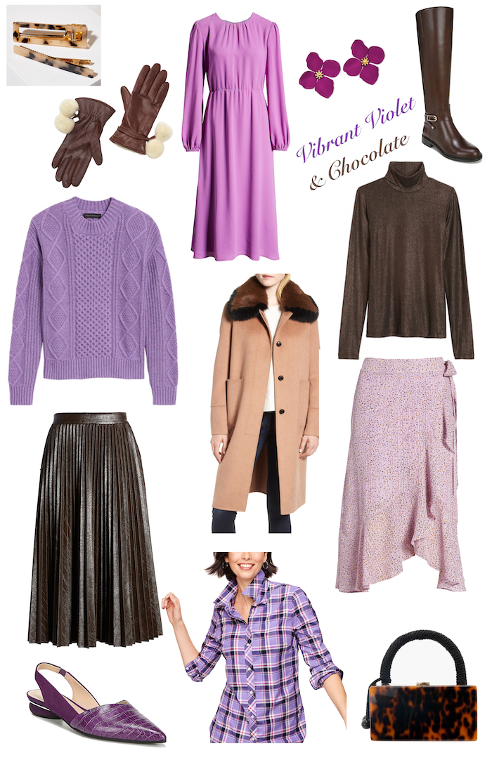 Fashion collage of violet and chocolate styles for fall looks