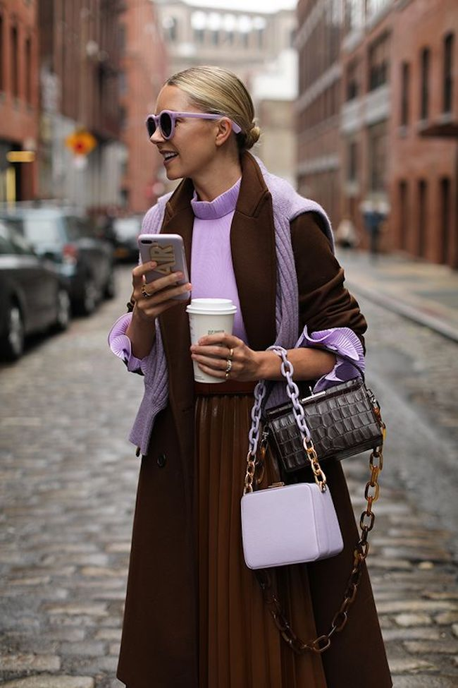 Blogger Blair Eadie in violet and chocolate outfit