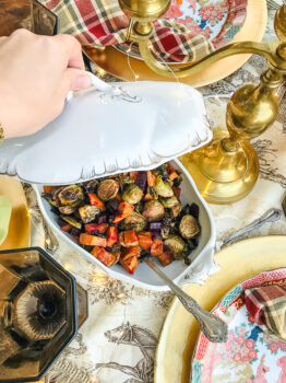 Antique white tureen filled with roasted brussel sprouts for a delicious Thanksgiving Side Dish