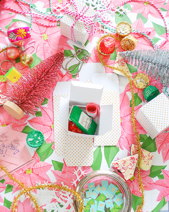 Fill advent mini-present boxes with treats