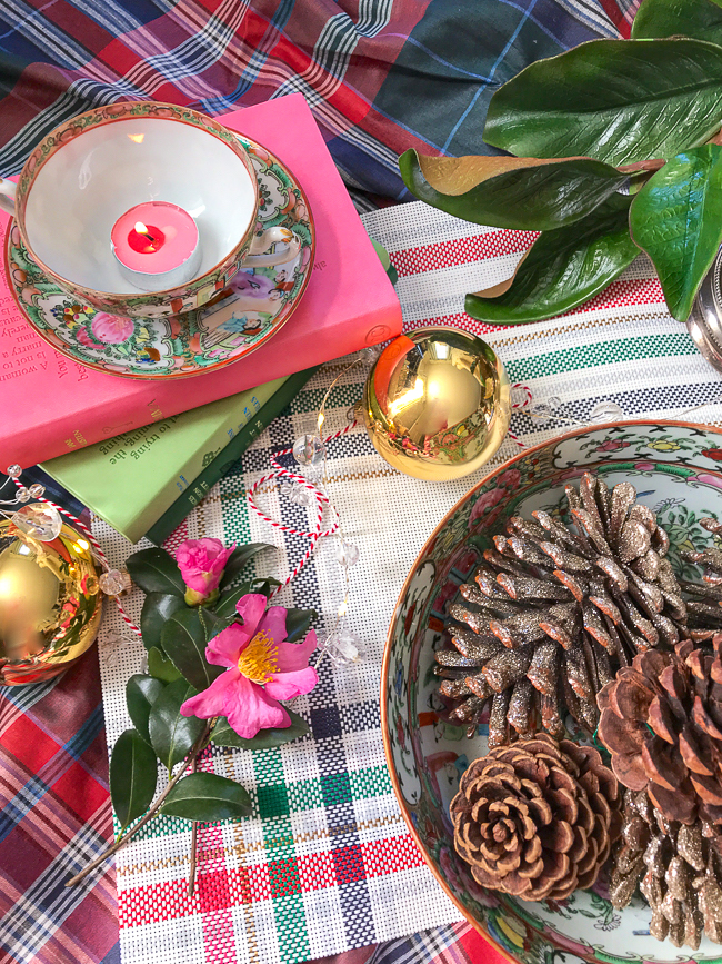 Pair floral and plaid decor together like this rose medallion cup and bowl with this plaid placemat and tablecloth.