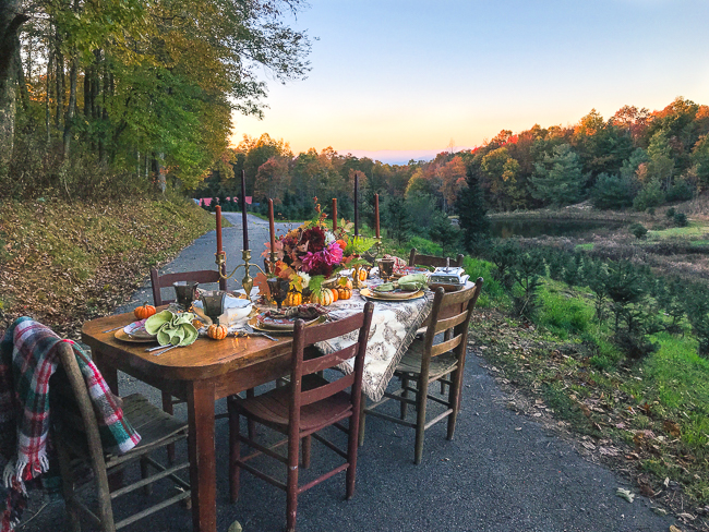 Al fresco Thanksgiving in Blue Ridge Mountains on Christmas tree farm. Set a rustic Chinoiserie Thanksgiving table for 2019 with toile, colorful china, dahlias, and brass.