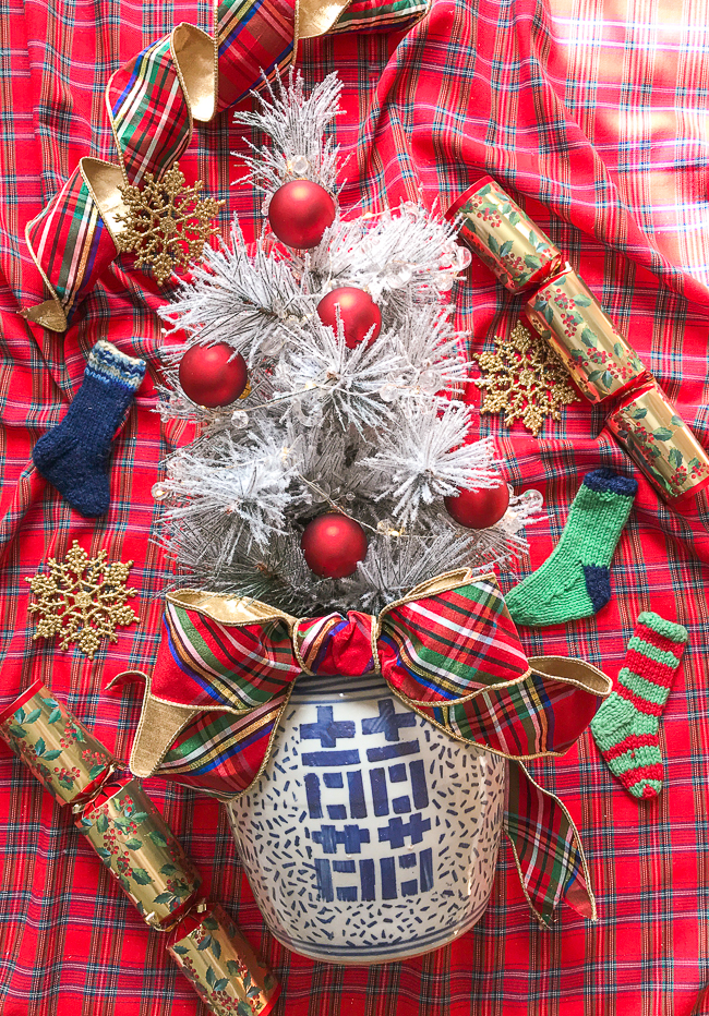 Plaid decor is perfect for your Christmas tree especially when mixed with blue and white Chinoiserie