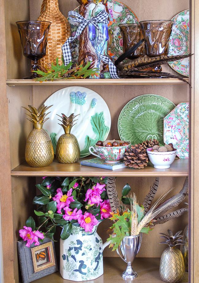Majolica display in bookcase