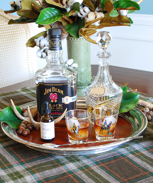 Jim Beam Black and sassafras and sorghum bitters is the last pairing on the silver tray