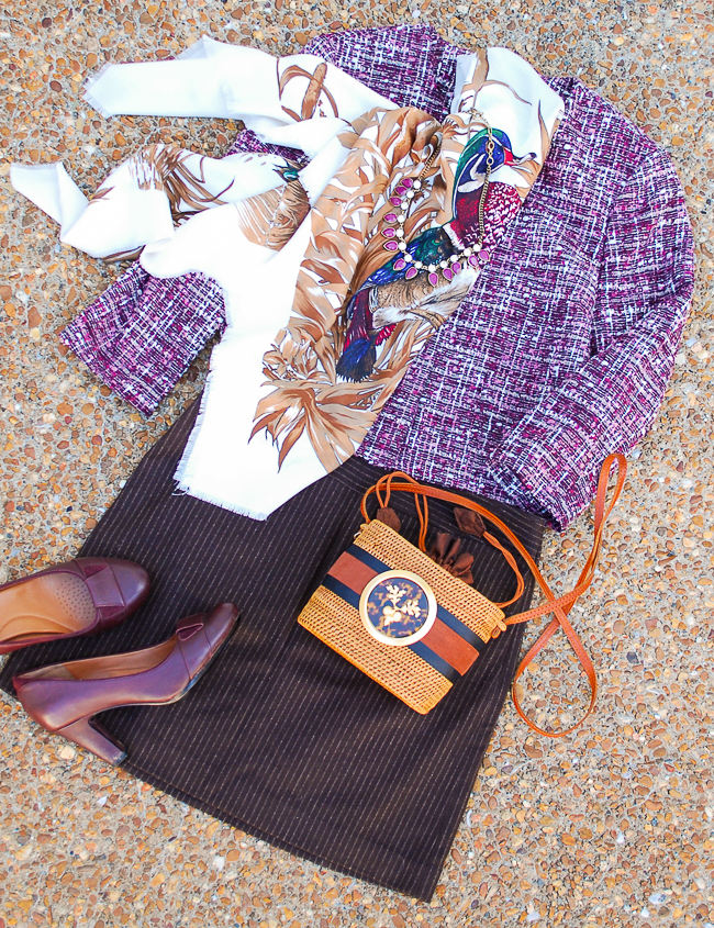Violet and chocolate the style color story of fall: purple tweed jacket with brown wool skirt and autumn fowl scarf