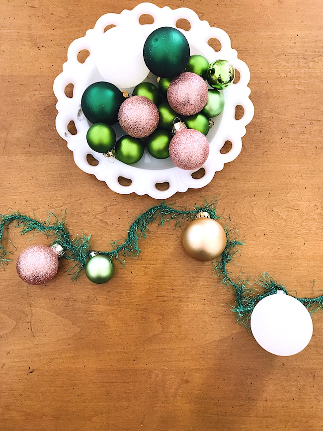 DIY ornament garland for whimsical Christmas mantel