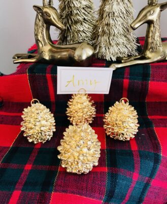 Gold pine cone place card stands - set of 4