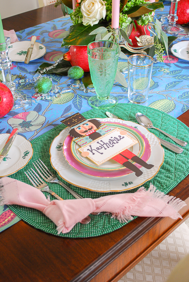 pink and green china for a colorful Christmas pacesetting that is whimsical and bold
