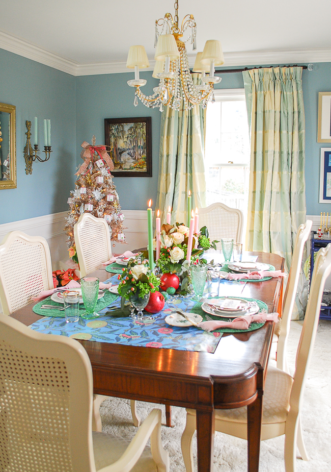 Katherine's aqua and white dining room decked for the holidays.