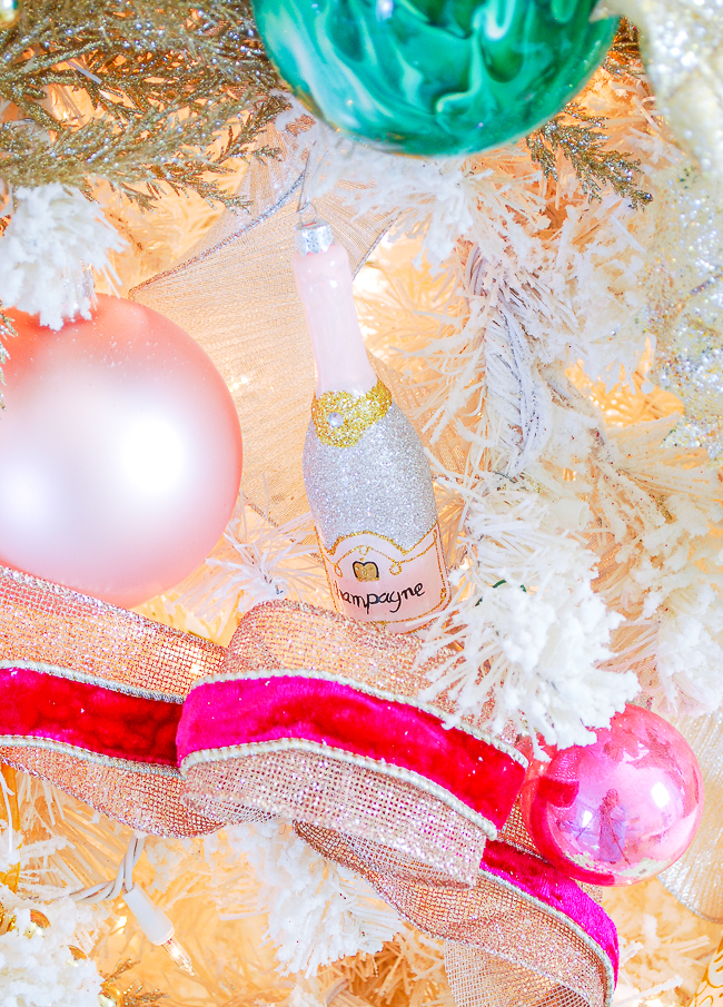 Champagne bottle ornament