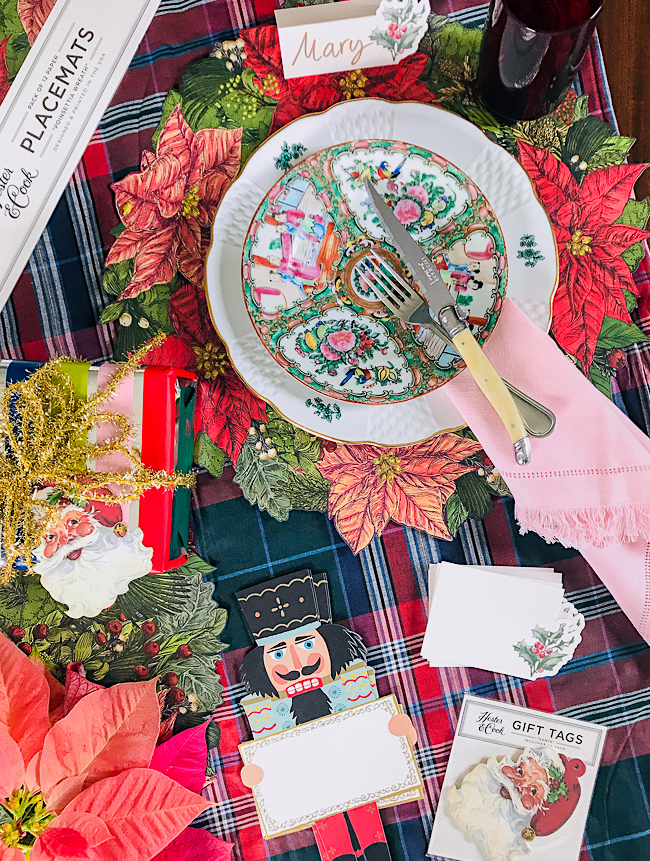 Flatlay with Hester & Cook table papers for a Christmas gift idea for the hostess with the mostest