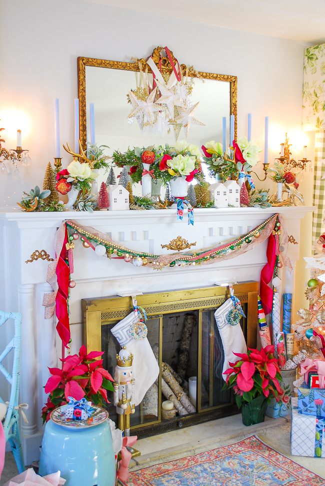 colorful Christmas village on my living room mantel